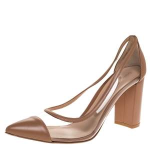 Gianvito Rossi Beige Leather And PVC Pointed Toe Block Heel Pump Size 40