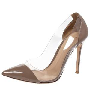 Gianvito Rossi Grey Patent And PVC Plexi Pointed Toe Pumps Size 38.5