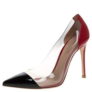 Gianvito Rossi Red/Black Patent Leather and PVC Plexi Pointed Toe Pumps Size 37