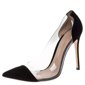 Gianvito Rossi Black Suede and PVC Plexi Pointed Toe Pumps Size 39