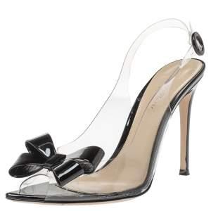 Gianvito Rossi Black/Transparent PVC Flexi Bow Slingback Peep Toe Pumps Size 38.5