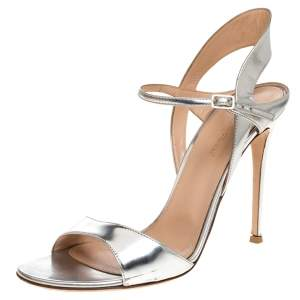 Gianvito Rossi Silver Leather Ankle Strap Sandals Size 41