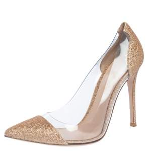 Gianvito Rossi Gold Glitters And PVC Plexi Pointed Toe Pumps Size 37.5