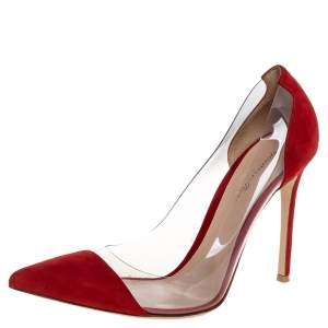Gianvito Rossi Red Suede and PVC Plexi Pumps Size 41.5