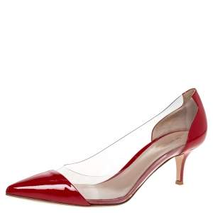 Gianvito Rossi Red Patent Leather and PVC Plexi Pointed Toe Pumps Size 40.5