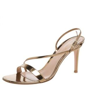 Gianvito Rossi Metallic Bronze Mirror Leather 'Manhattan' Ankle Strap Sandals Size 39