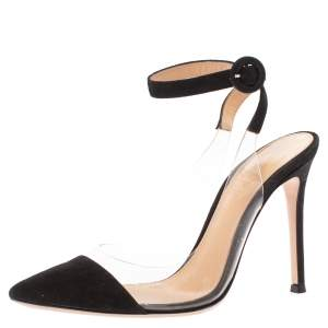 Gianvito Rossi Black PVC and Leather Anise Pointed Toe Ankle Strap Sandals Size 34.5