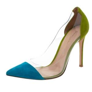 Gianvito Rossi Blue/Green Suede and PVC Plexi Pointed Toe Pumps Size 37