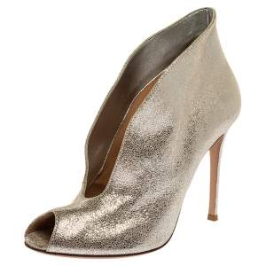 Gianvito Rossi Silver Foil Suede Vamp Peep Toe Booties Size 39