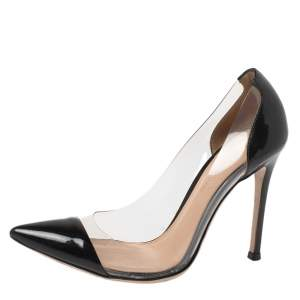 Gianvito Rossi Black Patent Leather And PVC Plexi Pointed Toe Pumps Size 35.5