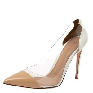 Gianvito Rossi White/Beige Patent Leather and PVC Plexi Pointed Toe Pumps Size 39