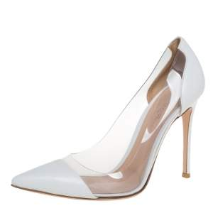 Gianvito Rossi White Leather and PVC Plexi Pointed Toe Pumps Size 39