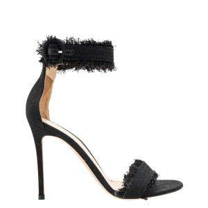 Gianvito Rossi Black Canvas Lola Frayed Ankle Cuff Sandals Size 37