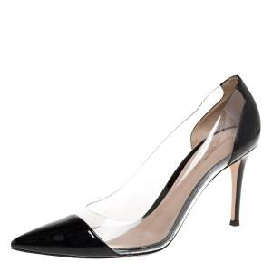 Gianvito Rossi Black Patent Leather And PVC Plexi Pointed Toe Pumps Size 41