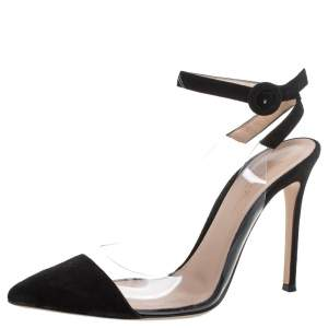 Gianvito Rossi Black Suede And Pvc Anise Pointed Toe Ankle Strap Sandals Size 38