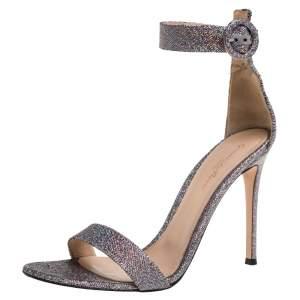 Gianvito Rossi Multicolor Glitter Fabric Portofino Ankle Cuff Sandals Size 39.5