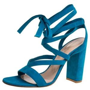 Gianvito Rossi Blue Suede Leather Ankle Wrap Sandals Size 41