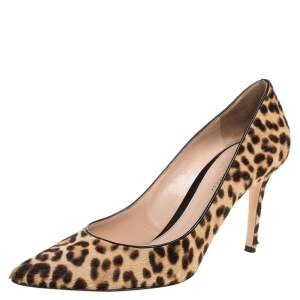 Gianvito Rossi Beige Leopard Print Calfhair Pointed Toe Pumps Size 40