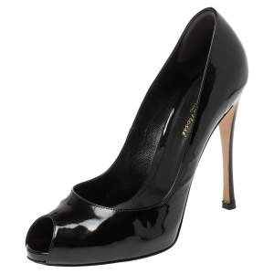 Gianvito Rossi Black Patent Leather Peep Toe Pumps Size 39