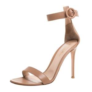 Gianvito Rossi Beige Leather Portofino Ankle Strap Sandals Size 40
