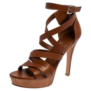 Gianvito Rossi Brown Leather Strappy Platform Sandals Size 37.5
