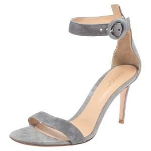 Gianvito Rossi Grey Suede Portofino Sandals Size 38.5