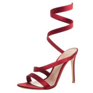 Gianvito Rossi Red Satin Opera Open Toe Sandals Size 38.5