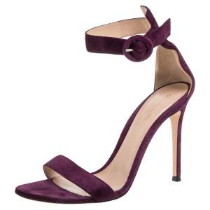 Gianvito Rossi Purple Suede Portofino Sandals Size 38.5