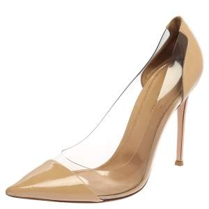 Gianvito Rossi Beige Patent Leather And PVC Plexi Pumps Size 42