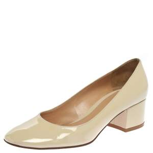 Gianvito Rossi Cream Patent Leather Round Toe Block Heel Pumps Size 37.5