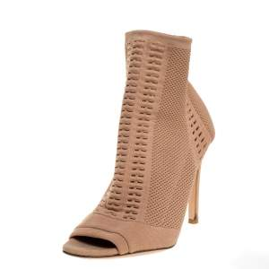 Gianvito Rossi Beige Stretch Knit Fabric Perforated Boots Size 37.5
