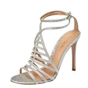 Gianvito Rossi Silver Glitter Vega Caged Open Toe Sandals Size 38