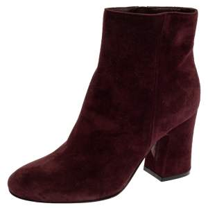 Gianvito Rossi Burgundy Suede Margaux Ankle Boots Size 36.5