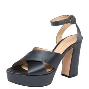 Gianvito Rossi Grey Satin Criss Cross Platform Sandals Size 39