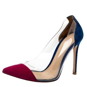 Gianvito Rossi Burgundy/Blue Suede and PVC Plexi Pumps Size 36