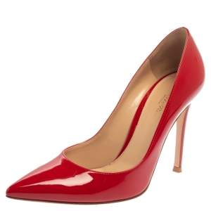 حذاء كعب عالي جيانفيتو روسي جلد أحمر لامع مقدمة مدببة مقاس 37.5