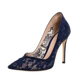 حذاء كعب عالي جيانفيتو روسي سويدي أزرق ودانتيل مقدمة مدببة مقاس 37