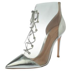 Gianvito Rossi Metallic Silver Leather and PVC Icon Ankle Boots Size 39.5