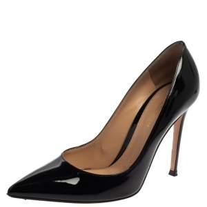 حذاء كعب عالي جيانفيتو روسي جلد أسود لامع مقدمة مدببة مقاس 38