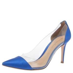 Gianvito Rossi Blue Satin And PVC Plexi Pointed Toe Pumps Size 38