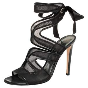 Gianvito Rossi Black Mesh And Leather Trim Ankle Wrap Sandals Size 38