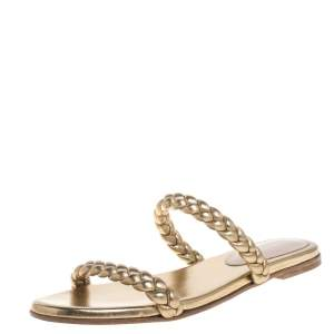 Gianvito Rossi Metallic Gold Leather Braided Double Band Slide Sandals Size 38