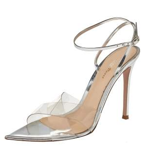 Giavanto Rossi Metallic Silver Leather And PVC Plexi Stark Sandals Size 39