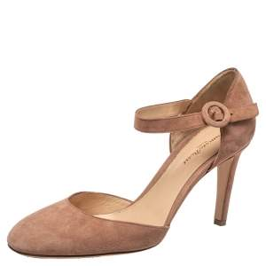 Gianvito Rossi Beige Suede D'orsay Ankle Strap  Pumps Size 39
