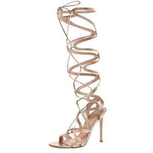 Gianvito Rossi Metallic Gold Leather Medusa Zig Zag Gladiator Sandals Size 37