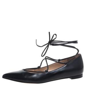 Gianvito Rossi Black Leather Femi Ankle Wrap Pointed Toe Flats Size 35