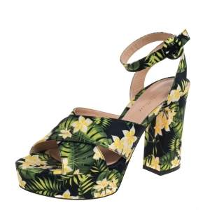 Gianvito Rossi Multicolor Printed Floral Satin Cross Strap Platform Sandals Size 39