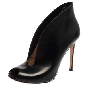 Gianvito Rossi Black Leather Vamp Peep Toe Booties Size 39.5