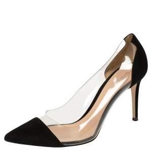 حذاء كعب عالي جيانفيتو روسي مقدمة مدببة زجاج بليكسى بى فى سى وسويدى أسود مقاس 41