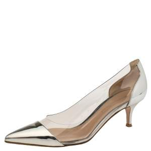 Gianvito Rossi Metallic Silver Leather And PVC Plexi Pointed Toe Pumps Size 36.5